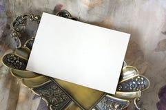 Blank Card On Golden Tray Royalty Free Stock Photos