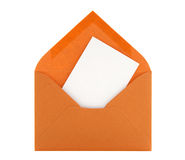 Blank card in orange envelope Royalty Free Stock Photos