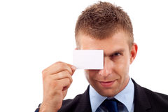 Blank card over an eye Royalty Free Stock Photos