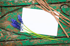 Blank card over wood. And blue flowers Royalty Free Stock Photos