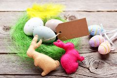 Blank card with painted eggs Royalty Free Stock Images