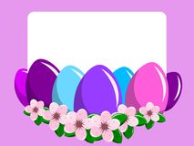 Blank Card painted eggs peach flowers isolated. Blank Card among painted eggs and peach flowers isolated Royalty Free Stock Photo