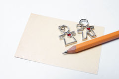 Blank card with pencil and Gift of Love Stock Photo