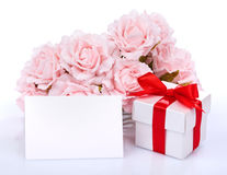 Blank card with pink flowers and gift Stock Images