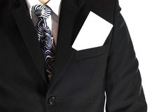 Blank card in pocket. Business man with blank card in his pocket Royalty Free Stock Photos
