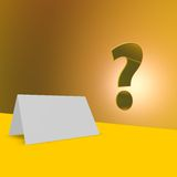 Blank card and question mark Stock Photo
