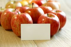 With blank card on red apples Stock Images