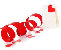 Blank card with red heart Stock Photo