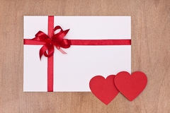 Blank card with red ribbon Royalty Free Stock Photo