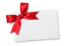 Blank card with red ribbon bow Royalty Free Stock Photo