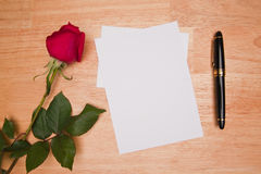 Blank Card, Rose And Pen Stock Photo