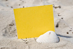 Blank card in the sand Stock Image