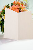 Blank card on table Stock Photos