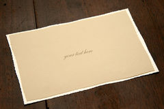 BLANK CARD ON TABLE Royalty Free Stock Photo
