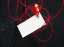 Blank card for text with clothespins heart . Symbol of love. Royalty Free Stock Image