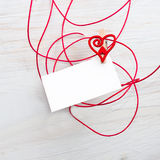 Blank card for text with clothespins hearts.Symbol of love. Royalty Free Stock Images