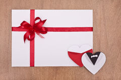 Blank card and two hearts Royalty Free Stock Photography