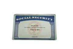 Blank card. Blank US social security card isolated on white Stock Photography