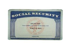 Blank card. Blank US social security card isolated on white Stock Photo