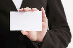 Blank card. Woman holding blank card bussiness Royalty Free Stock Image