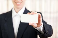 Blank card in women hand Stock Image