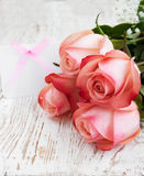 Blank card for your message and pink roses Stock Photos