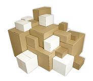 Blank cardboard boxes. Pile of blank cardboard boxes Stock Photo
