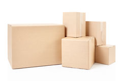 Blank Cardboard Boxes Stack Stock Photography