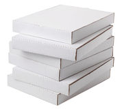 Blank cardboard boxes. White cardboard boxes isolated on white Royalty Free Stock Photos
