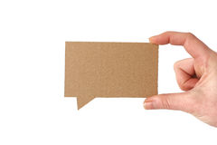 Blank cardboard speech bubble Royalty Free Stock Photo