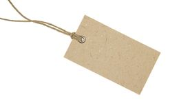 Blank Cardboard Tag. Isolated on White Stock Photos