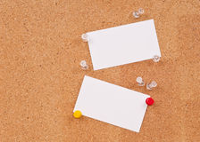 Blank Cards on Cork Board Stock Images