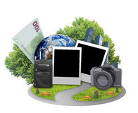 Blank cards with earth and luggage Stock Photos