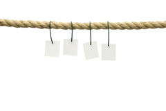 Blank cards haning off frayed rope Royalty Free Stock Photos