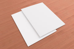 Blank cards on wooden background. Blank cards or flyer on wooden background, to replace message or image on cover Royalty Free Stock Photography