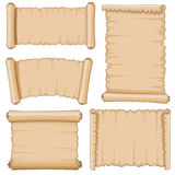 Blank cartoon old scrolls of papyrus paper vector set Stock Images