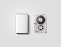 Blank cassette tape box design mockup, , clipping path. Vintage cassete tape case with retro casset mock up. Plastic analog magnetic tape casete clear Stock Photos