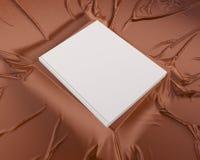 Blank catalog, magazines,book mock up on wood background 3d illustration. Textbook,  texture,  tissue,  up,  velvet,  wave,  white,  wood Royalty Free Stock Images