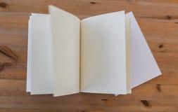 Blank catalog, magazines,book mock up on wood background Royalty Free Stock Image