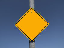 Blank Caution Sign. With a deep blue sky Stock Images