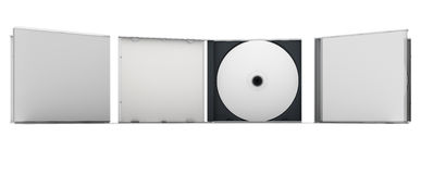 Blank CD. And CD case mock up set. Clipping path included for easy selection Royalty Free Stock Image