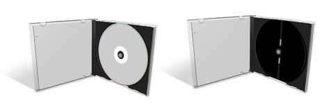 Blank CD in a CD Case and empty case stock images