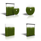 Blank CD, DVD, disk box template with green grass Stock Photography