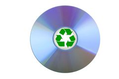 Blank CD or DVD with recycle sign Royalty Free Stock Photography