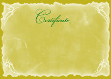 Blank Certificate. Background, gold color Stock Photos