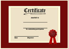 Blank certificate Royalty Free Stock Image