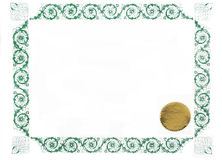 Blank certificate. Certificate border and gold stamp, blank for text Royalty Free Stock Images