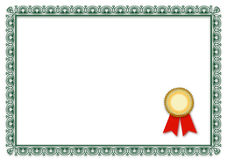 Blank certificate Stock Photography