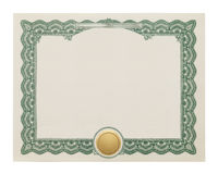 Blank Certificate. Award Degree With Copy Space and Gold Seal Isolated on White Background stock photo
