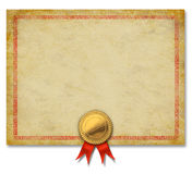 Blank Certificate With Gold Crest Ribbon. Blank Old grunge certificate with a gold crest and red ribbon as an ornate decorative  diploma frame or merit award for Stock Photo